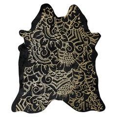 Gold Metallic Boho Batik Pattern Black Cowhide Rug, Large