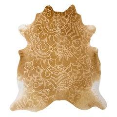 Gold Metallic Boho Batik Pattern Caramel Cowhide Rug, Large