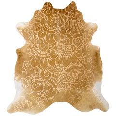 Gold Metallic Boho Batik Pattern Caramel Cowhide Rug, Medium