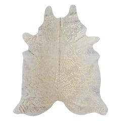 Gold Metallic Boho Batik Pattern Cream Cowhide Rug, Large