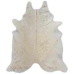 Gold Metallic Boho Batik Pattern Cream Cowhide Rug, Medium