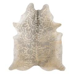 Gold Metallic Boho Batik Pattern Gray Cowhide Rug, Large