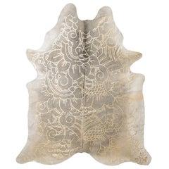 Gold Metallic Boho Batik Pattern Gray Cowhide Rug, Medium