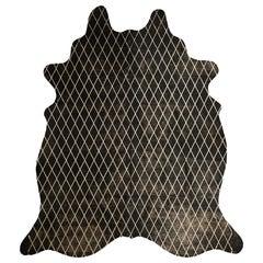 Gold Metallic Diamond Pattern Black Cowhide Rug, Large