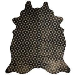 Gold Metallic Diamond Pattern Black Cowhide Rug, Medium