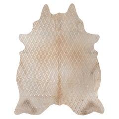 Gold Metallic Diamond Pattern Caramel Cowhide Rug, Large