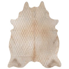 Gold Metallic Diamond Pattern Caramel Cowhide Rug, Medium