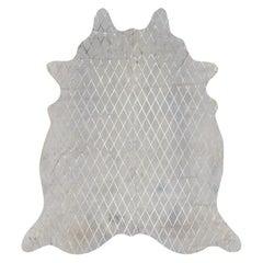 Gold Metallic Diamond Pattern Cream Cowhide Rug, Large