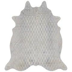 Gold Metallic Diamond Pattern Cream Cowhide Rug, Medium