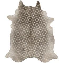 Gold Metallic Diamond Pattern Gray Cowhide Rug, Large