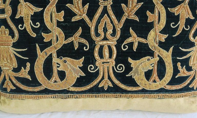 Baroque Gold Metallic Embroidered Linen Velvet Pillows, Pair For Sale