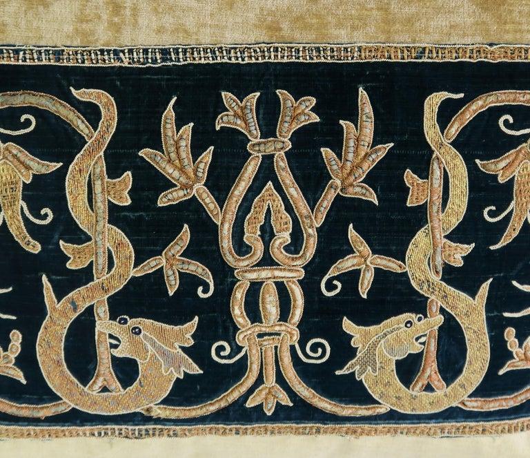 Italian Gold Metallic Embroidered Linen Velvet Pillows, Pair For Sale