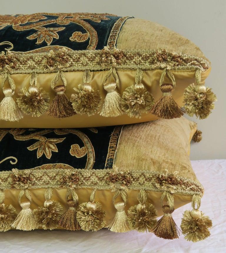 Silk Gold Metallic Embroidered Linen Velvet Pillows, Pair For Sale