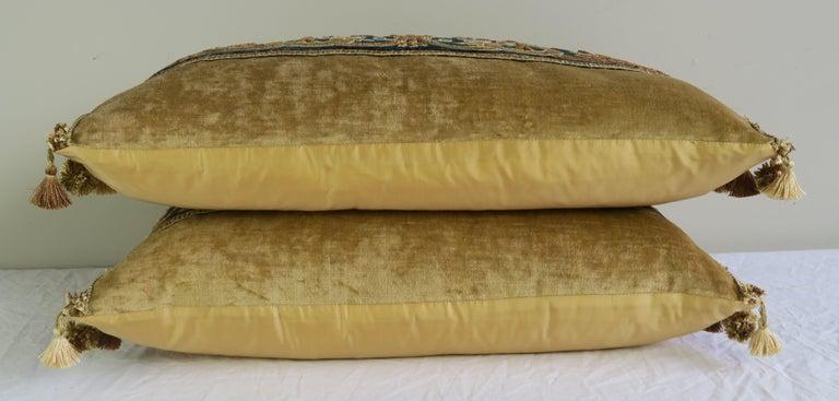 Gold Metallic Embroidered Linen Velvet Pillows, Pair For Sale 1