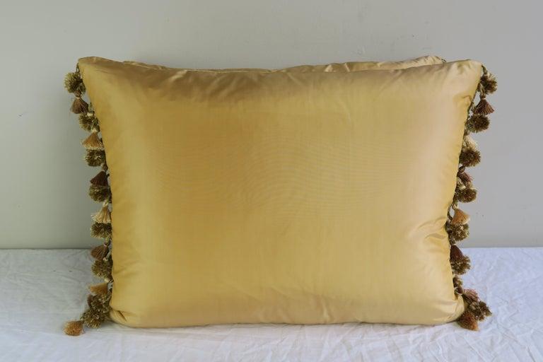 Gold Metallic Embroidered Linen Velvet Pillows, Pair For Sale 2