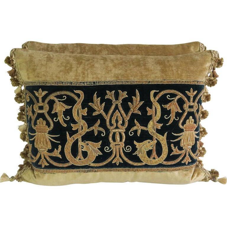 Gold Metallic Embroidered Linen Velvet Pillows, Pair For Sale
