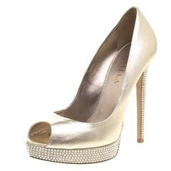 Gold Metallic Leather Crystal Embellished Platform Peep Toe Pumps Size 38.5