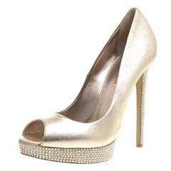 Gold Metallic Leather Crystal Embellished Platform Peep Toe Pumps Size  41