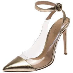 Gold Metallic PVC and Leather Anise Pointed Toe Ankle Strap Sandals Size 38