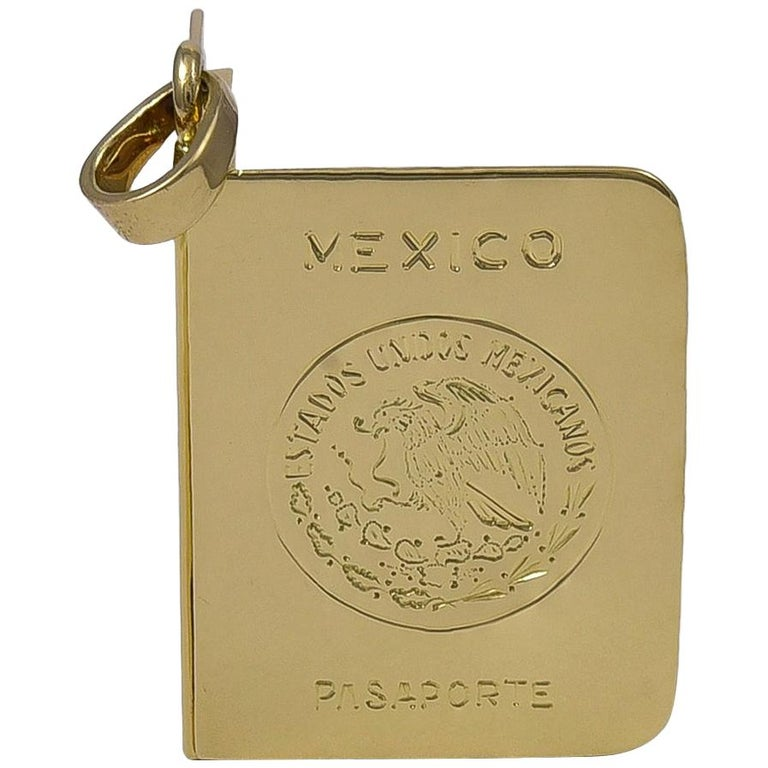 Gold Mexico Passport Charm or Locket For Sale