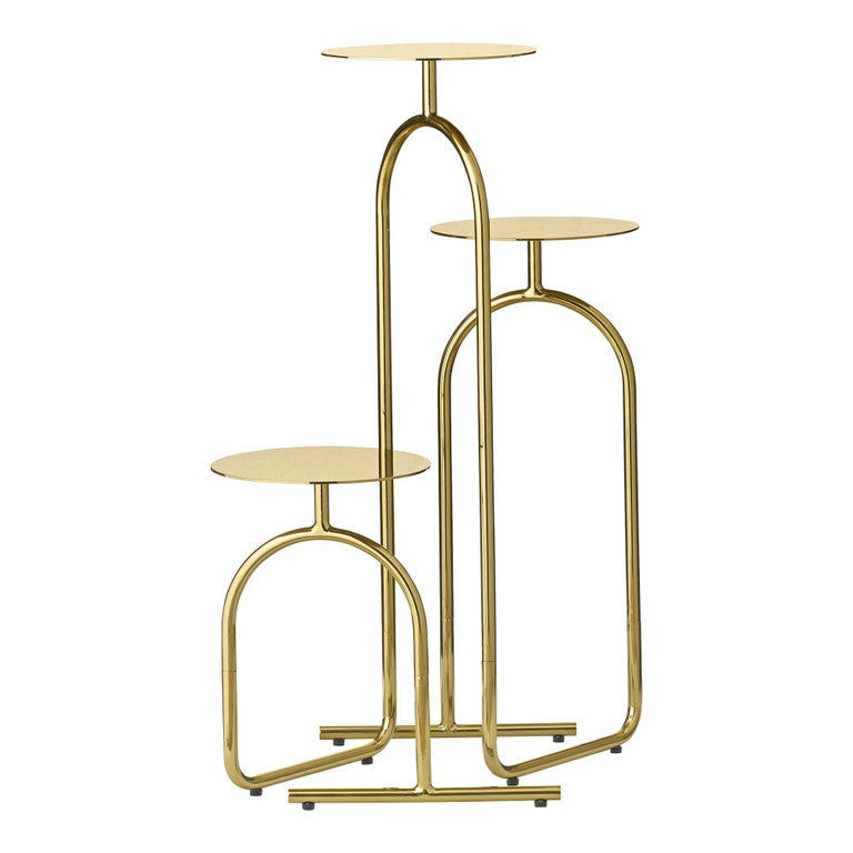 Modern Gold Minimalist Pedestal Table For Sale