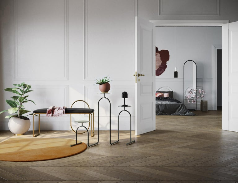 Danish Gold Minimalist Pedestal Table For Sale