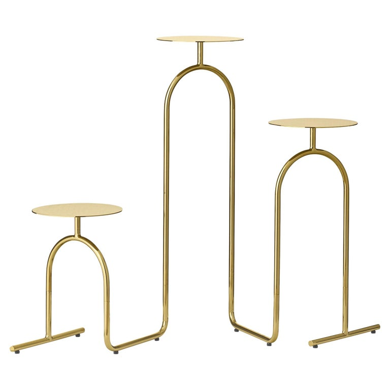 Gold Minimalist Pedestal Table For Sale