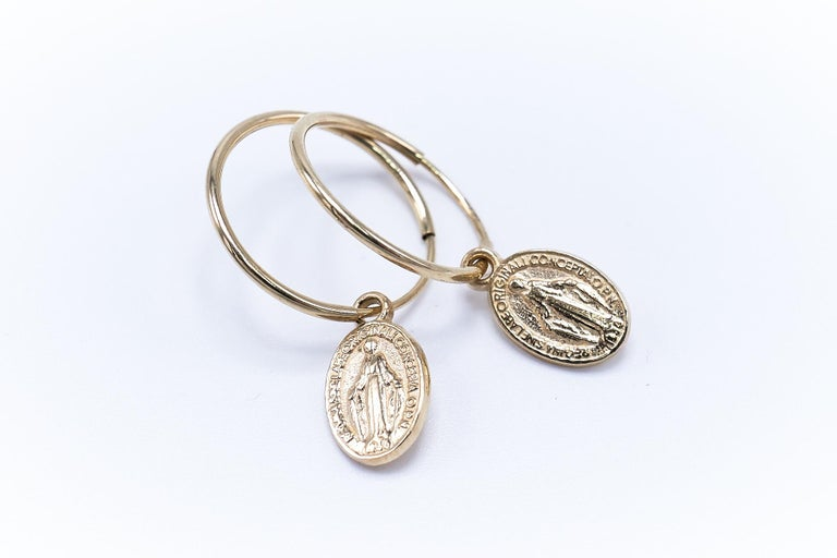 Women's or Men's Gold Miraculous Medal Virgin Mary Hoop Earrings J DAUPHIN For Sale