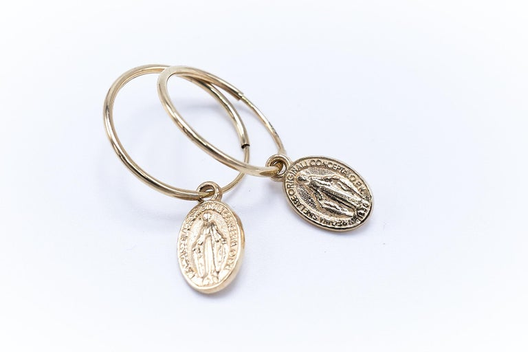 Gold Miraculous Medal Virgin Mary Hoop Earrings J DAUPHIN For Sale 1