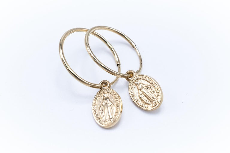 Gold Miraculous Medal Virgin Mary Hoop Earrings J DAUPHIN For Sale 2