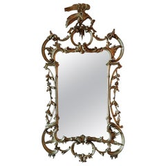 Giltwood Mirror Decorated with Scrolls and a Phoenix Finial, 20th Century