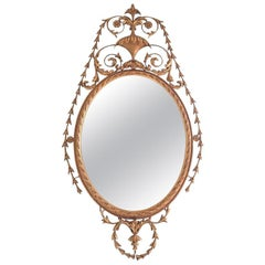 Giltwood Mirror with a Decorative Urn at Top, 20th Century