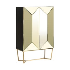 Gold Mirrored and Black Wooden Cabinet