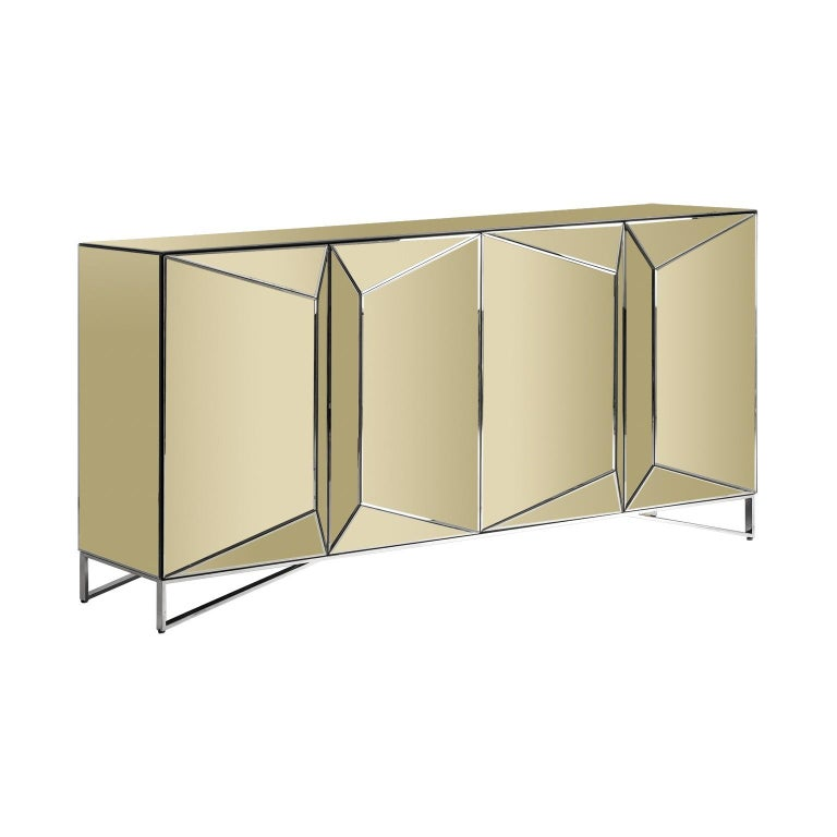 Gold Mirrored And Chrome Sideboard