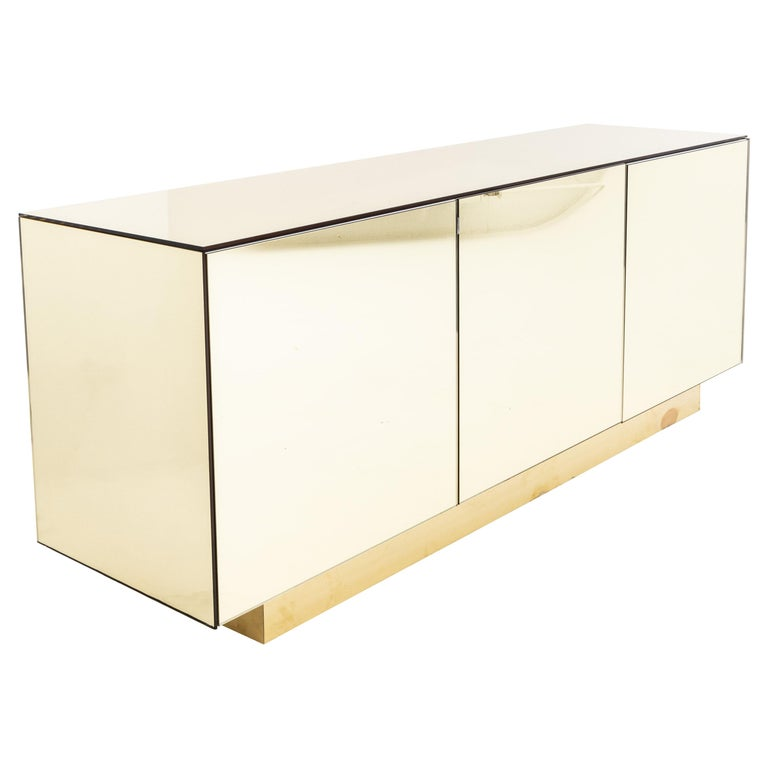 Gold Mirrored Sideboard, Italy, 1970s For Sale