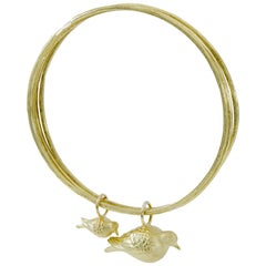 Gold Mother and Baby Bird Bracelet