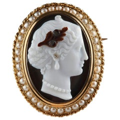 Gold-Mounted Agate Cameo Brooch, Second Part of the 19th Century, Napoleon III