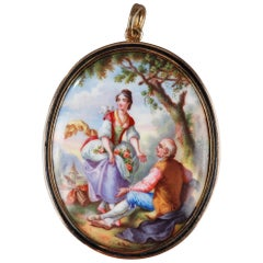 Gold-Mounted Enamel Pendant with Pastoral