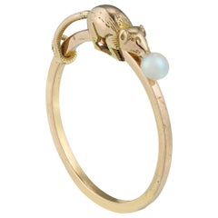 Gold Mouse Ring with a Pearl