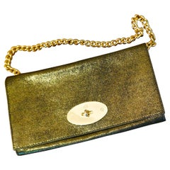 Gold Mulberry Evening Clutch or Chain Handle Bag