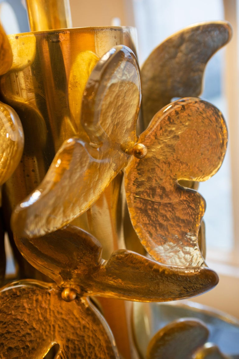 Gold Murano Butterflies Table Lamp For Sale 3