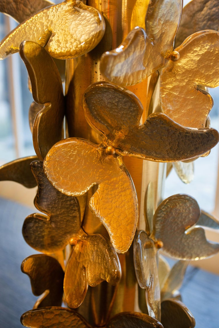 Gold Murano Butterflies Table Lamp For Sale 4