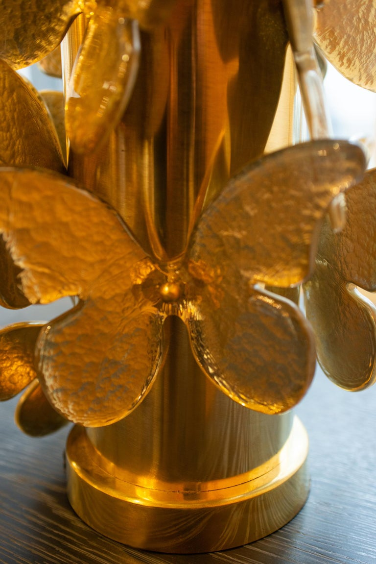 Gold Murano Butterflies Table Lamp For Sale 6