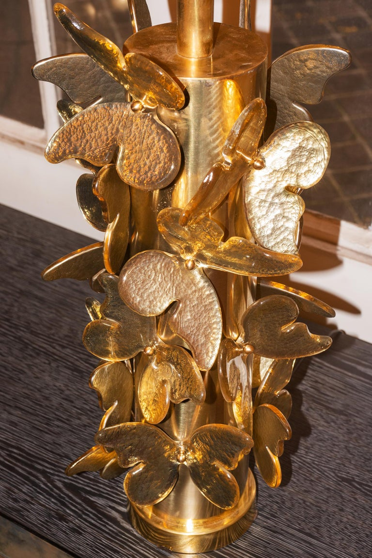 Gilt Gold Murano Butterflies Table Lamp For Sale