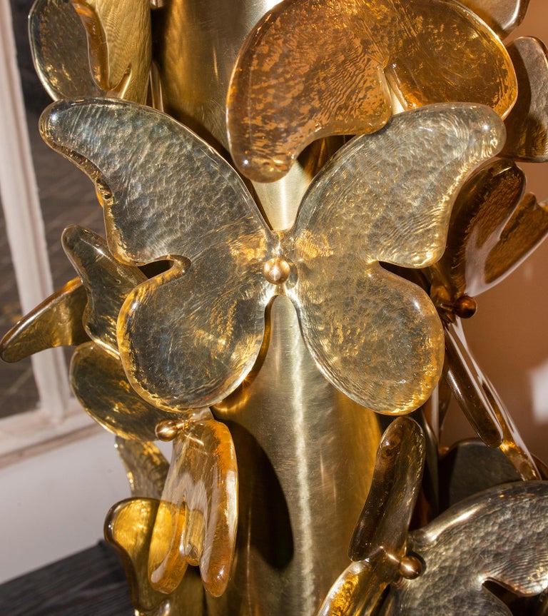 Gold Murano Butterflies Table Lamp In New Condition For Sale In Paris, FR