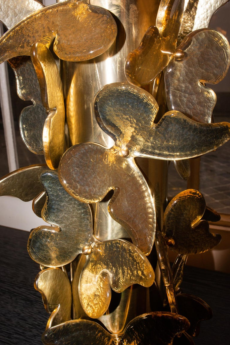 Contemporary Gold Murano Butterflies Table Lamp For Sale