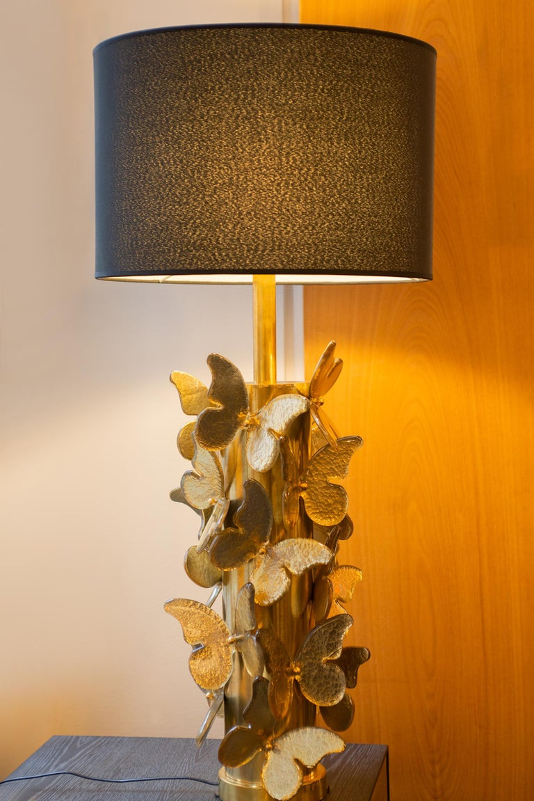 Gold Leaf Gold Murano Butterflies Table Lamp For Sale