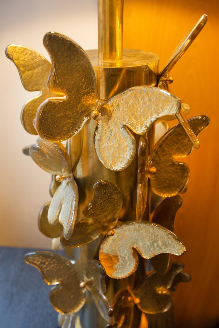 Gold Murano Butterflies Table Lamp For Sale 1