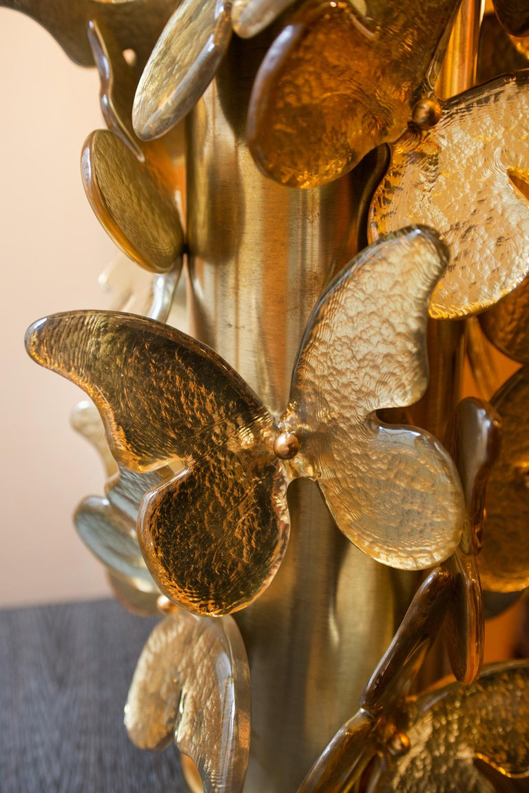 Gold Murano Butterflies Table Lamp For Sale 2