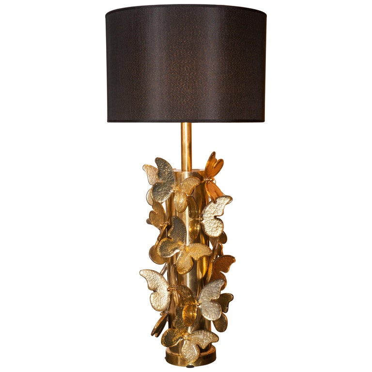 Gold Murano Butterflies Table Lamp For Sale